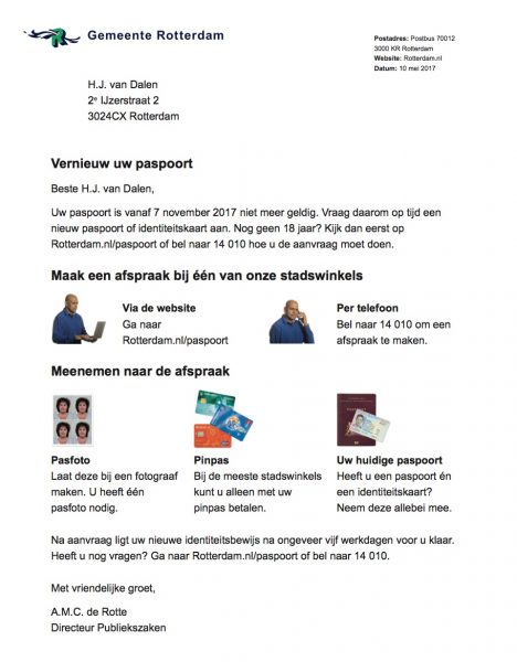 Voorbeeld Beeldbrief paspoort aanvragen